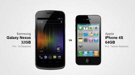 Comparing Samsung Galaxy Nexus 32GB vs. Apple iPhone 4S 64GB - 18 Reasons for the Samsung Galaxy Nexus 32GB - VERSUS IO