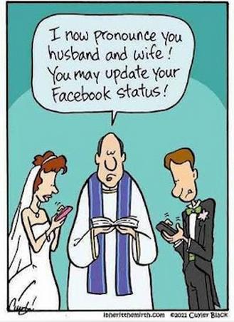 Facebook status at wedding