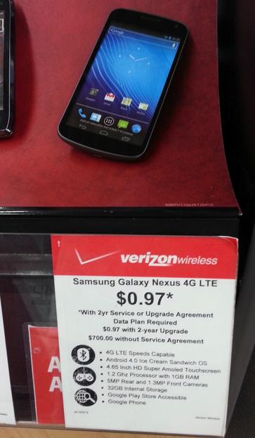 Verizon Galaxy Nexus Now Only $1 At Walmart [Deals]