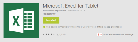 Excel for tablet