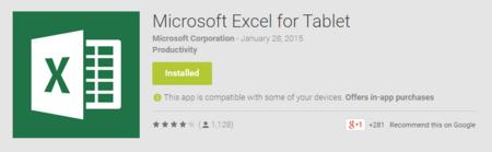 Excel for tablet