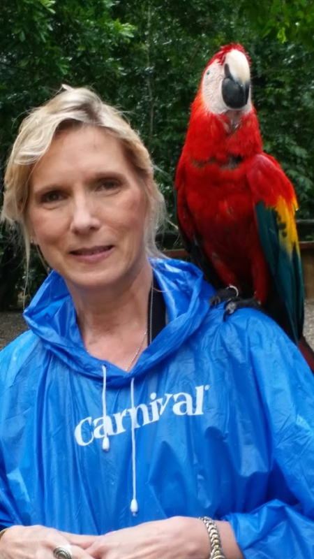 Jacquelyn and parrot in rain
